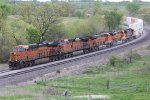 5 Orange Ge's crawl up hill on the BNSF Marceline Sub.