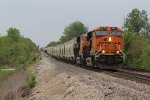 2 C4's lead a freight train east down the BNSF Marceline Sub.