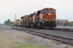 BNSF 6619 Leads a Mow train east though Mendon Mo.