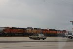 BNSF 7206, UP 6863, BNSF 1537, and BNSF 1236