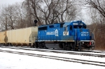 NS GP-40-2 #3057 still in Conrail Quality Colors pushes an eastbound at CP JU