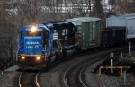 NS SD-40-2 #3412 still in Conrail Quality Colors leads an eastbound around the curve at Steel City
