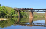 Eastbound lunchtime mixed freight crosses the Grand River