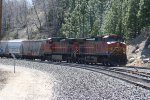 Rear DPU units dropping downgrade near the site of Emigrant Gap turntable.