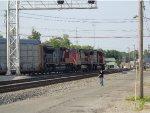 A trio of CN locos bring a train around the wye