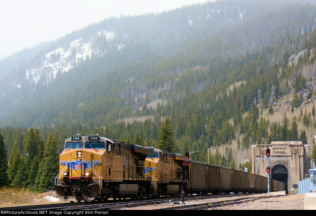 UP 5368 Loaded Coal Emerging from Moffat Tunnel