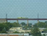 Amtrak track vehicle on Hell Gate viaduct