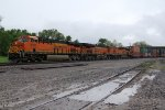 BNSF 8192 Leads a EB q train into the rain storm.