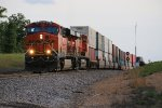 BNSF 7456 Heads out of the siding at Cuba Mo