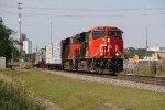 CN 2934 Leads a freight train through Effingham IL.