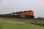 BNSF 9040 Heads up a loaded coal drag into the Rain.
