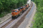 BNSF 6893 Slings a stack west around the curve at Rutledge Mo.