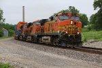 BNSF 4774 runs track speed through the small town of Gorin Mo.