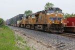 UP 7619 Meet's a Westbound Up stack train on the BNSF Marceline Sub.