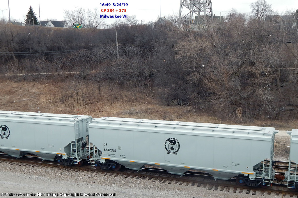 Combined CP train 384 & 375 rolls into Muskego yard at Milwaukee