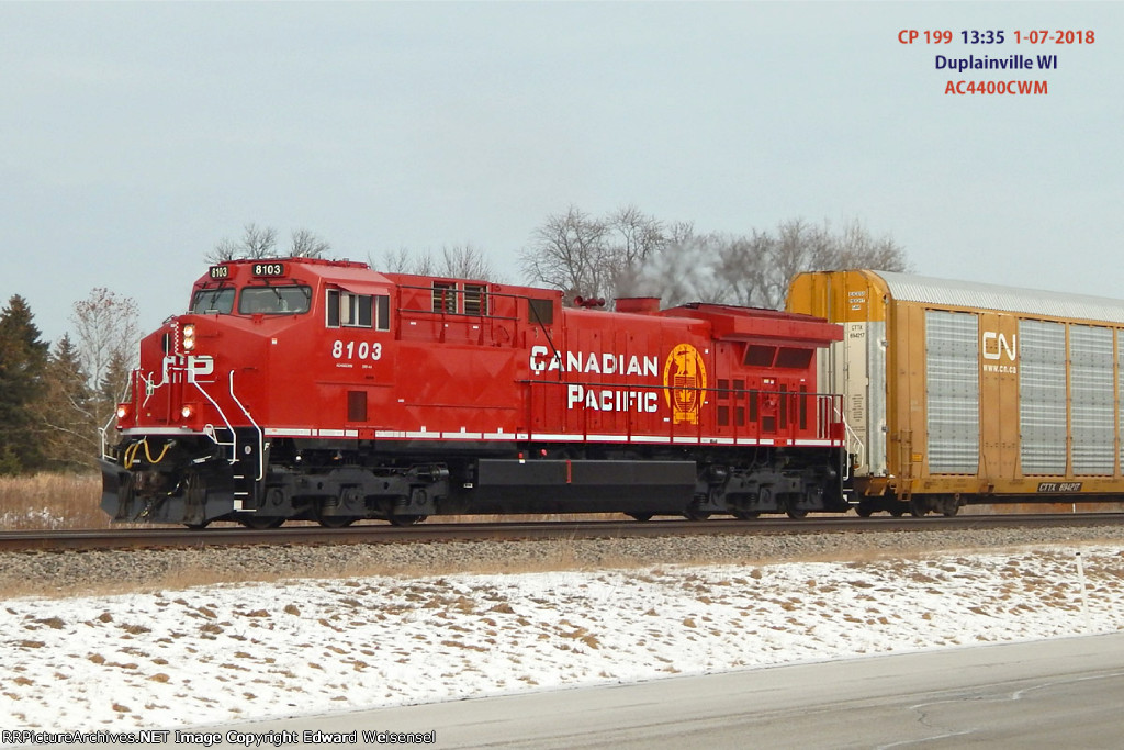 Freshly upgraded Ac4400Cwm 8103 leads intermodal 199