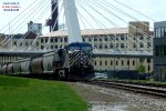 Bluebird led a combined grain and oil train - and cut the tank cars in the yard