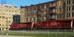 CP 288 pulling past the Louis Bass building built by Pabst in 1893