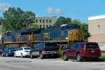 CSX power on ethanol train 580 will hang a right turn after existing the depot
