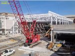 Trainshed steel trusses are nearly all in place