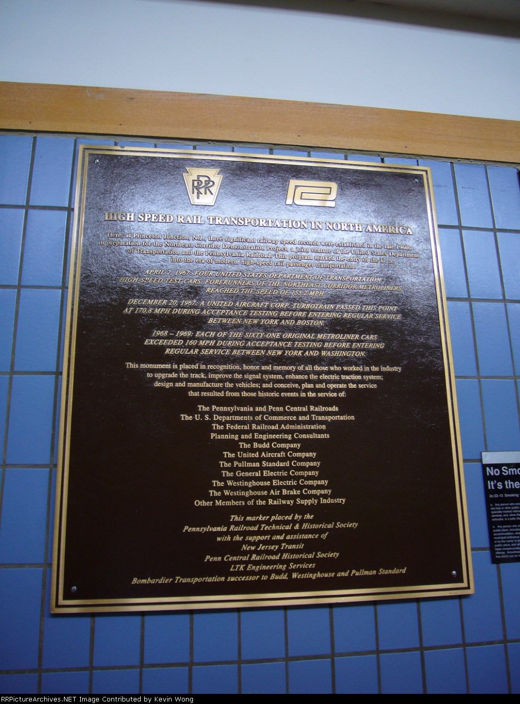 High speed rail commemorative plaque in Princeton Junction station