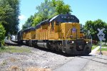 UP SD-40-2 #3036 (ex CNW, with nose gong) prepares to cross S 600 W with the northbound Cache Valley Local in Logan, UT. 6/9/2015 (Don't know the story about no headlight)