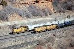 """2-fer"" While UP C45ACCTE #7928 pushes on the rear entering the canyon eastbound, ES-44AC's #'s 7390 & 7373 pull a westbound out of the canyon, taken from the I-80 west rest area in Echo, UT. 3/10/2015"