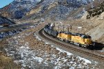 Its work in Echo done. SD-40-2R #3215 leads an eastbound local about to go under the Echo Canyon Rd. OHB in Emory, UT. 11/26/2014