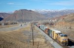 UP ES-44AC #5304 is the DPU on westbound that has just crossed under the Echo Canyon Rd, OHB in Henefer, UT. 11/26/2014