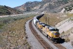 UP SD-70ACE #8619 leads a seemingly infinite eastbound grain train at the Echo Canyon Rd (Lincoln Hwy) OHB in emory, Utah, 9/1/2014