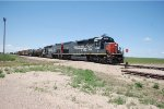 Two Kyle (ex SP in full paint) SD-45T-2 #9330 + 9282 lead a train in Stratton, Colorado. 6/12/2014