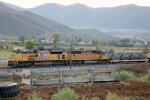 """""""Traffic Jam"""" UP SD-70ACE #8454 heads an eastbound military move, stuck behind a disabled train. Echo / Henefer, UT. 9/20/2014"""