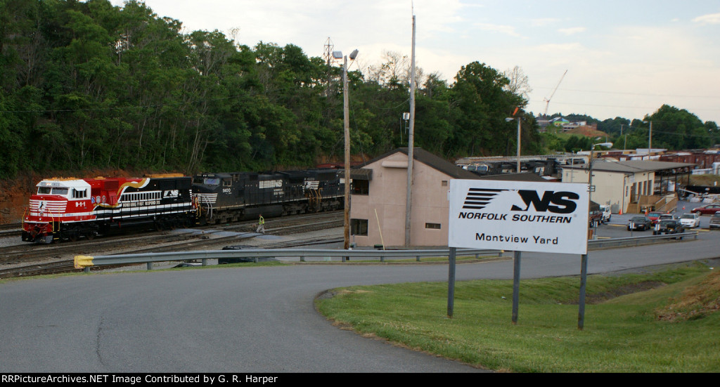 NS 9-1-1 shoves south past Montview Yard office