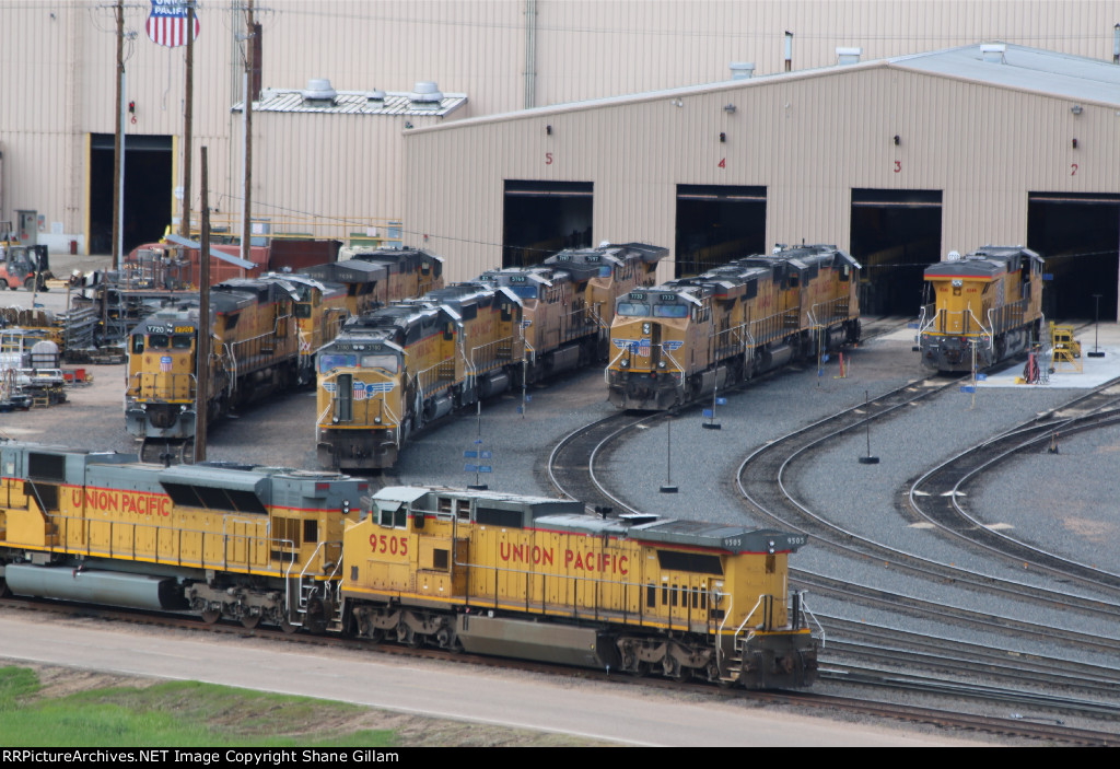 UP 7733 And many more sit waiting for repairs and inspections.