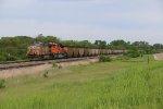 UP 5807 Is seen fighting hills in Southern Nebraska.