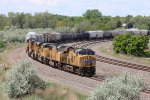 UP 7483 Heads up a 5 unit freight out of North Platte Nb.