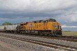 UP 8127 Newer Gevo works Dpu on a Westbound grain train.