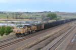 UP 5606 Drags a empty coal up hill into North Platte Nb.