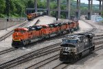 BNSF 8437 Leads a 9 unit empty coal into the West bottoms of Kc Mo.