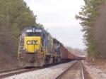 CSX 2334 ballast train in the siding