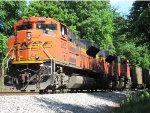 BNSF 9205 & 9206 wait with coal empties