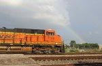 BNSF 7160 with a rainbow