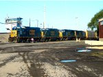 CSX 1524, CSX 6112, CSX 8728, and CSX 8727 switching cars in the north yard of Frontier Yard