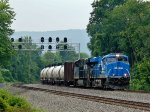 The Conrail Heritage Unit leads the 64V east on 1