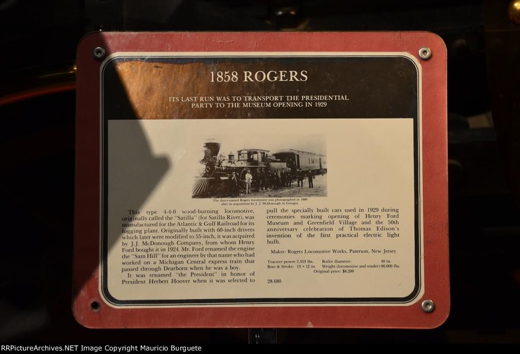 Atlantic & Gulf Railroad 4-4-0 Rogers Steam locomotive details
