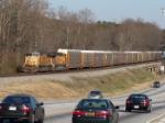 UP 4304 passes rush hour traffic