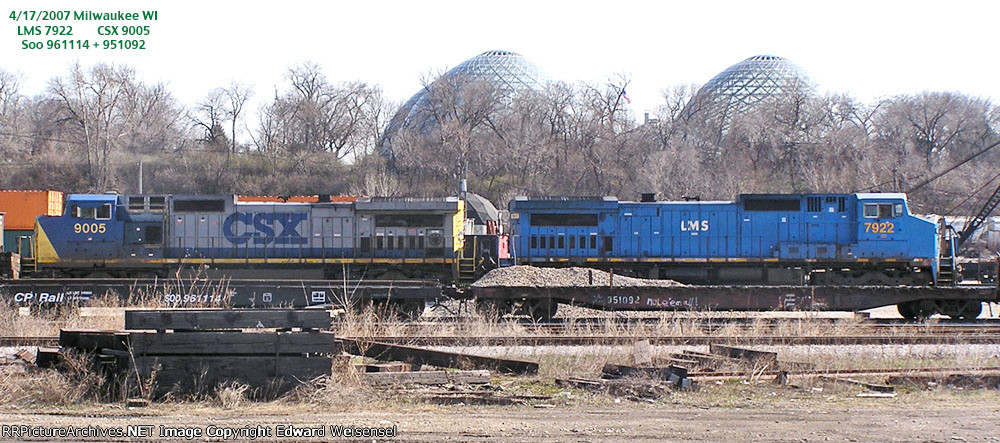 Eastern visitors and a former Milwaukee flatcar north of the Mitchell Park Domes