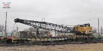 American locomotive crane is teamed with OLS caboose CNW 261531