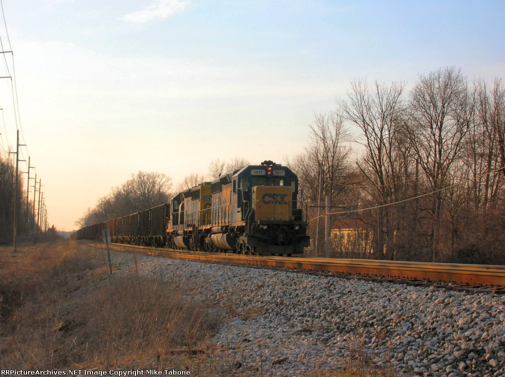 CSX 8837 with some vintage cars?