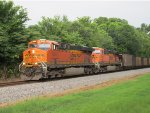 BNSF 6305 & 6225 lead a empty coal train west at MP 536